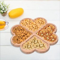 Heart Shape Wooden Dry Fruits Plate - Brown