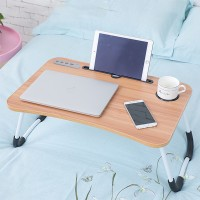 High Quality Laptop Ipad Table Desk With 4 Usb Hub - Light Brown