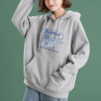 Cartoon Printed Loose String Closure Hoodie Top - Gray