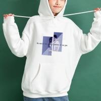 String Closure Full Sleeves Loose Wear Hoodie Top - White