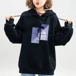 String Closure Full Sleeves Loose Wear Hoodie Top - Black