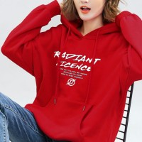 Printed Vintage Baggy Wear Hoodie Tops - Red