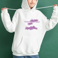 Graphical Printed Loose Wear Hoodie Top - White