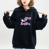 Graphical Printed Loose Wear Hoodie Top - Black
