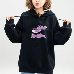 Graphical Printed Loose Wear Hoodie Top - Black