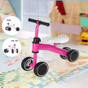 Kids Balance 4 Wheel Pushing Walking Bicycle - Pink
