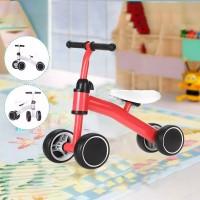 Kids Balance 4 Wheel Pushing Walking Bicycle - Red