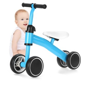 Kids Balance 4 Wheel Pushing Walking Bicycle - Blue
