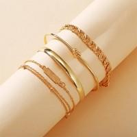 Braid Gold Plated Five Pieces Women Fashion Bracelets Set