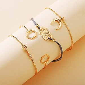 Gold Plated Women Fashion Crystal Four Pieces Bracelet Set