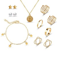 Five Pieces Gold Plated Ring With Ear Tops Bracelet and Necklace Set