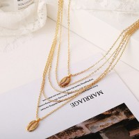 Sea Shell Gold Plated Multi Layered Pendant Necklace