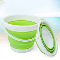 Round Shape Multi purpose Foldable Silicone Bucket - Green