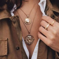 Engraved Vintage Pendant Gold Plated Women Fashion Necklace