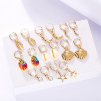Sea Shell Multi Shaped Gold Plated Earrings Pairs Set