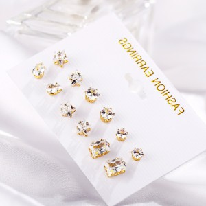 Crystal Patched Gold Plated Women Fashion Ear Tops Set