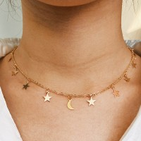 Stars Moon Gold Plated Women Fashion Necklace