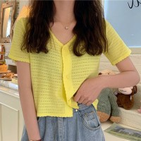 Hollow V Neck Button Up Short Sleeved Top - Yellow