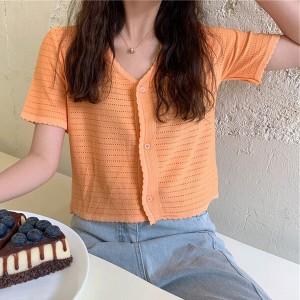 Hollow V Neck Button Up Short Sleeved Top - Orange