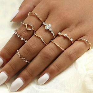 Nine Pieces Bohemian Crystal Patched Rings Set