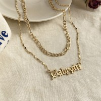 Gold Plated Babygirl Two Layered Necklace