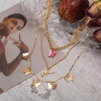 Butterfly Patched Gold Plated Multilayered Necklace