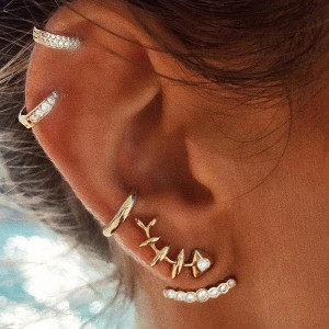 Gold Plated Crystal Patched Ear Jewellery Set