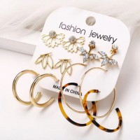 Crystal Patched Gold Plated Women Fashion Six Pairs Earrings
