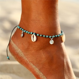 Rhinestone Decorative Knotted Beach Wear Anklet - Blue