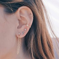 Crystal Patched Five Pieces Ear Jewellery Set