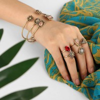 Rhinestone Decorative Five Pieces Rings With Boho Bangles