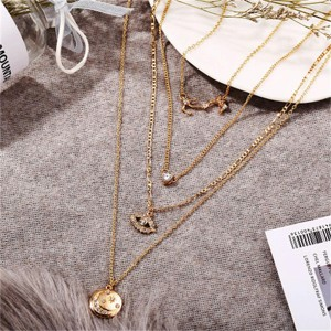 Gold Plated Four Layered Multi Design Necklace - Golden