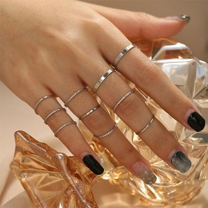 Silver Plated 10 Piece Bohemian Palm Jewellery Rings Set