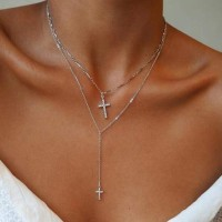 Silver Plated Crystals Patched Cross Pendant Necklace