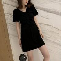 Drawstring Bust V Neck Mini Fitted Dress - Black