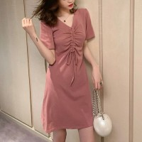 Drawstring Bust V Neck Mini Fitted Dress - Pink