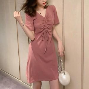 Drawstring Bust V Neck Mini Fitted Dress - Pink