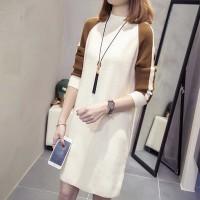 Turtle Neck Contrast Full Sleeves Mini Dress - White