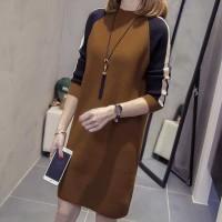 Turtle Neck Contrast Full Sleeves Mini Dress - Brown