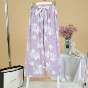 Printed Loose Wear Elastic Palazzo Bottom Trouser - Light Purple