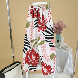 Printed Loose Wear Elastic Palazzo Bottom Trouser - Red White