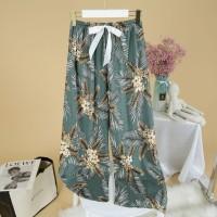 Printed Loose Wear Elastic Palazzo Bottom Trouser - Green