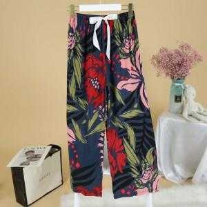 Printed Loose Wear Elastic Palazzo Bottom Trouser - Multicolor