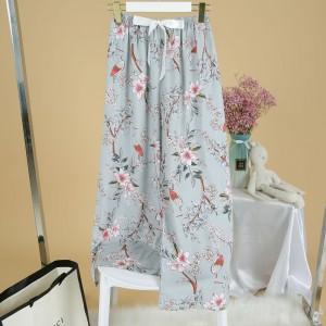 Printed Loose Wear Elastic Palazzo Bottom Trouser - Gray