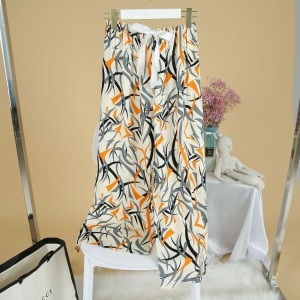 Printed Loose Wear Elastic Palazzo Bottom Trouser - White Multicolor