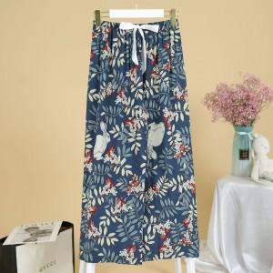 Printed Loose Wear Elastic Palazzo Bottom Trouser - Dark Blue