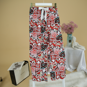Hearts Printed Loose Wear Elastic Palazzo Bottom Trouser - Red