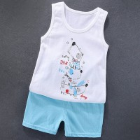 Sleeveless Two Piece Kids Wear Matching Sets - Light Blue