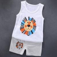 Sleeveless Two Piece Kids Wear Matching Sets - Black Orange