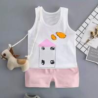 Sleeveless Two Piece Kids Wear Matching Sets - Pink
